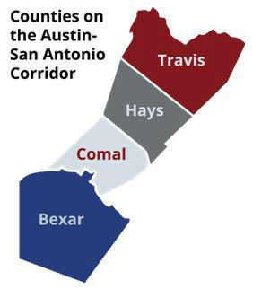 Another Texas Metroplex? Counties on the Austin San Antonio Corridor Map
